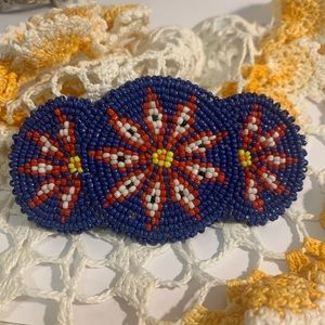 Vintage Native American beaded flower barrette